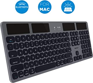 Macally Bluetooth Wireless Solar Keyboard for Mac Mini/Pro, iMac Desktop Computers & Apple MacBook Pro/Air Laptops | Rechargeable Via Any Light Source | Caps Lock/Battery Indicators - Space gray