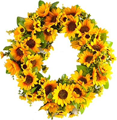 sweetdream Artificial Forsythia Wreath 20 Inch Summer Fall Large Wreaths Springtime All Year Around Flower Green Leaves for Outdoor Front Door Indoor Wall Or Window D/écor skilful