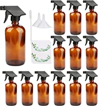 16oz Amber Glass Spray Bottles,Adjustable Sprayers & Chalk Labels, with caps for Essential Oils, Cleaning Products, or Aromatherapy (Spray Bottle Set) [12 pack]