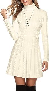 Hawiton Robe Pull pour Femme, Robe Élégante Femme d'hiver à Col Rond/Col Roulé, Robe Taille Haute Femme à Manche Longue, R...