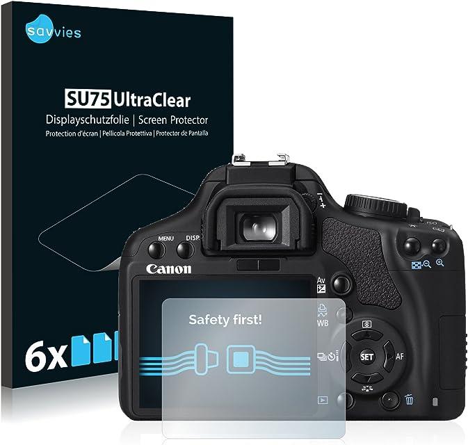 savvies Protector Pantalla Compatible con Canon EOS 450D (6 Unidades) Pelicula Ultra Transparente