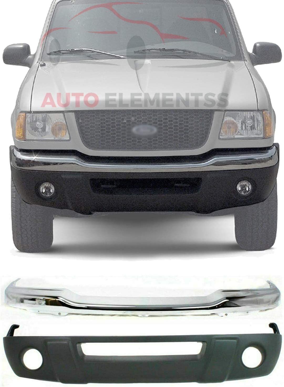 Buy New Front Bumper Chrome Lower Valance Panel Textured With Fog Light Holes For 2001 2003 Ford Ranger Xl Xlt Direct Replacement 1l5z17757ca 1l5z17626daa Online In Turkey B07t8byw1r