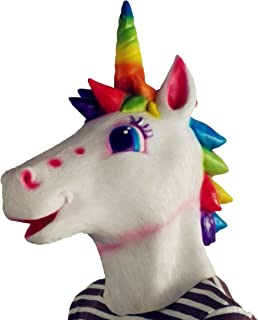 Creepy Horse Head Mask Full Face Latex Animal Party Unicorn Mask Halloween Costume Props Christmas Adults & Kids