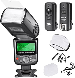 Neewer 750II TTL Flash Speedlite con kit Pantalla LCD para Cámaras Nikon DSLR Incluye:(1)750II Flash (1)Disparador Inalámbrico 2.4G con Cable N1/N3 (1)Difusor Suave/Duro (1)Soporte de Tapa de Lente