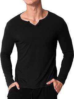 Men's Casual Henley T-Shirts Long Sleeve Slim Fit V Neck Basic Undershirt Tee Tops