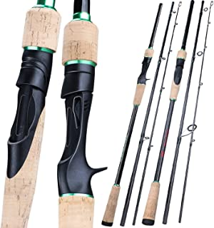 Kayla Store New 3 Sections Portable Fishing Rod 1.8 2.4M Carbon Ultra Light Spinning/Casting Fishing Pole EVA Handle Tackle