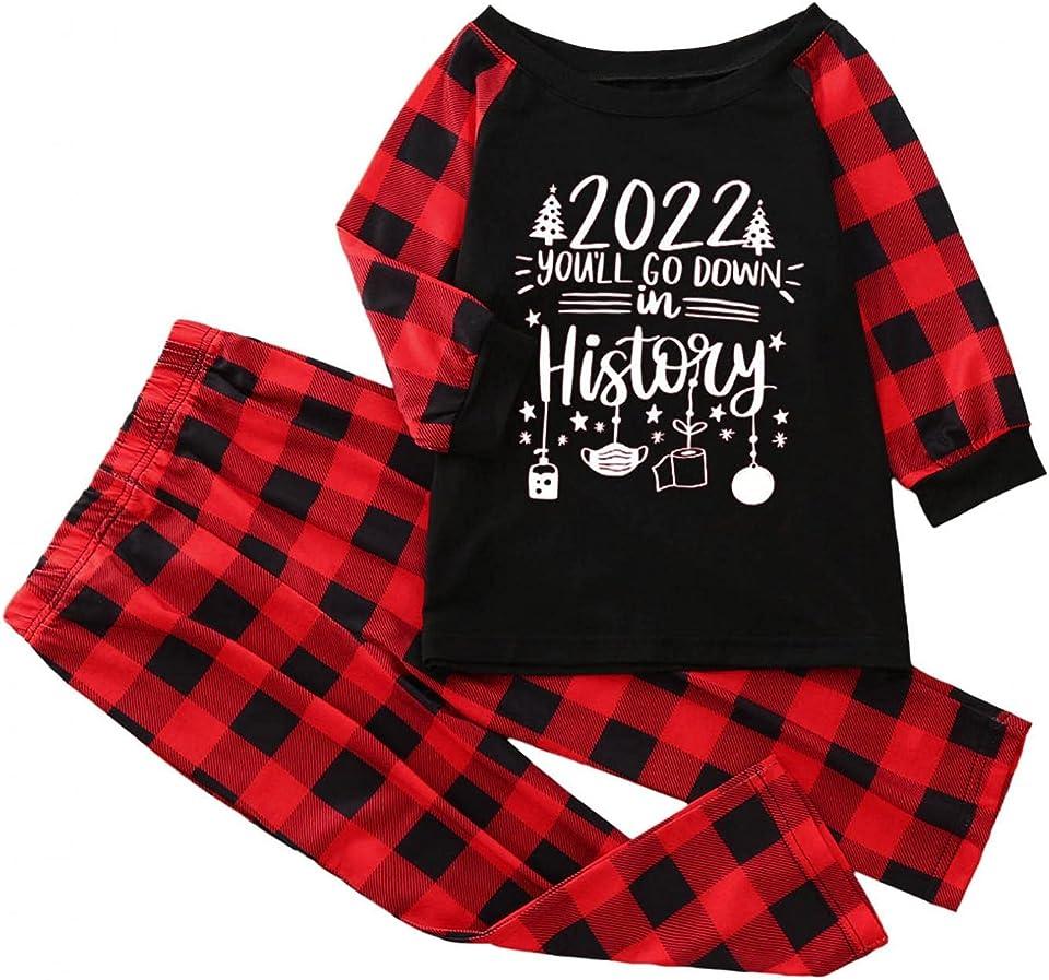 Xmas Sleepwear Nightwear Raglan Sleeve Printed Comfortable Baggy Winter Family Christmas Pyjamas Set Matching Sleepwear Pajamas PJs Set for Adults Womens Kids