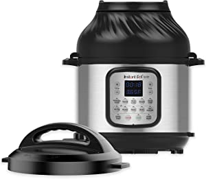 Instant Pot Duo Crisp 11-in-1 Electric Pressure Cooker with Air Fryer Lid, 8 Quart Stainless Steel/Black, Air Fry, Roast, Bake, Dehydrate, Slow Cook, Rice Cooker, Steamer, Sauté