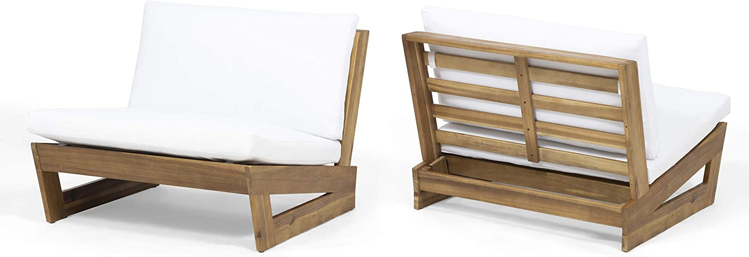 Great Deal Furniture Emma Outdoor Acacia Wood Club Chairs with Cushions (Set of 2), Teak and White