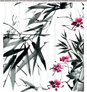BLEUM CADE Ink Painting Shower Curtain Set Blossom Bamboo Branch on White Bath Curtain with 12 Hooks, Durable Waterproof Fabric Bathroom Curtain