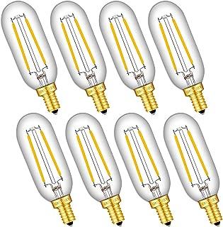 OMAYKEY 2W LED Candelabra Bulbs 25W Equivalent 2700K Warm White 250 Lumens, E12 Base Clear Glass Antique T25 Mini Tubular Dimmable LED Chandelier Light Bulb, 8 Pack