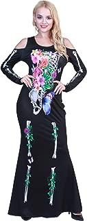 Halloween Women Plus Size Beautiful Flower Bones Skeleton Costume