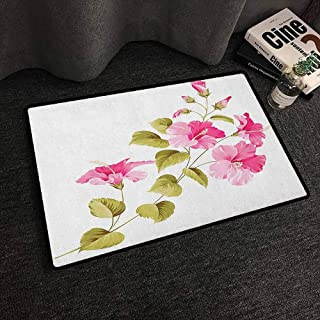 Xlcsomf Polyester Door mat Flower Widely Used Tropic Wild Hibiscus Flower Branch with Fresh Leaves Exotic Flora Concept Pink Green White,W20 x L31