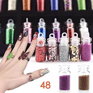 Fameza 12 Bottles Glass 3D Nail Art Set Decoration Tool Glitter Powder Rhinestone Sequins - Mixed Colors