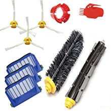 Amyehouse Replacement Parts Kit Bristle Brush & Flexible Beater Brush & Aero Vac Filter & Armed-3 Side Brush for iRobot Roomba 600 Series 595 610 614 620 630 650 660 671 680 690 Vacuum