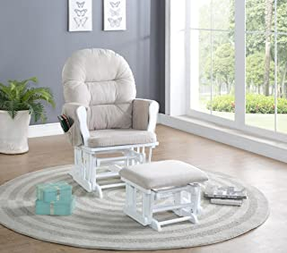 Naomi Home Brisbane Glider & Ottoman Set White/Cream