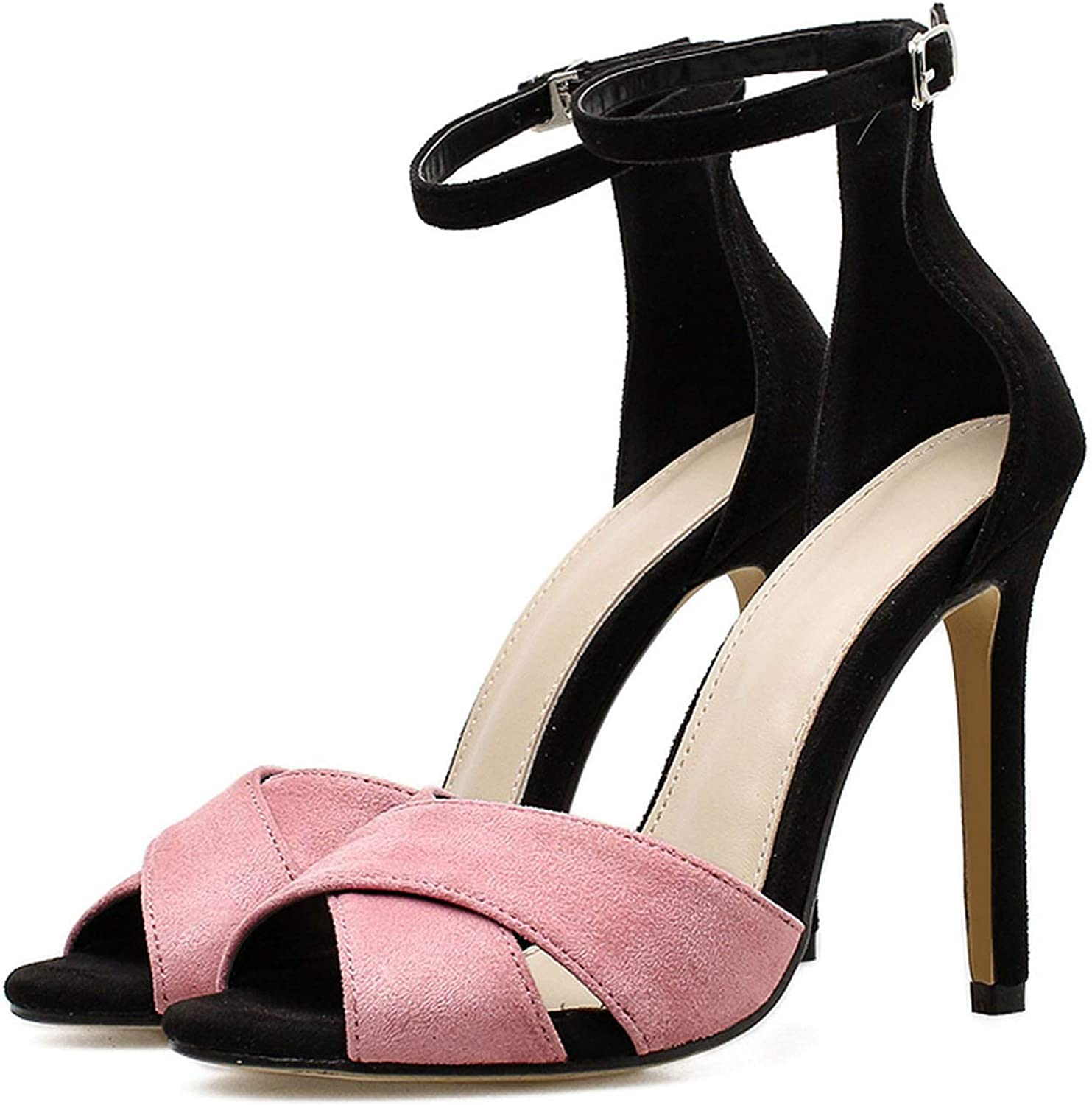 NorthEsther 2019 on Women 11.5cm High Heels Buckle Strap Peep Toe Sandals Fe Pink Stiletto s