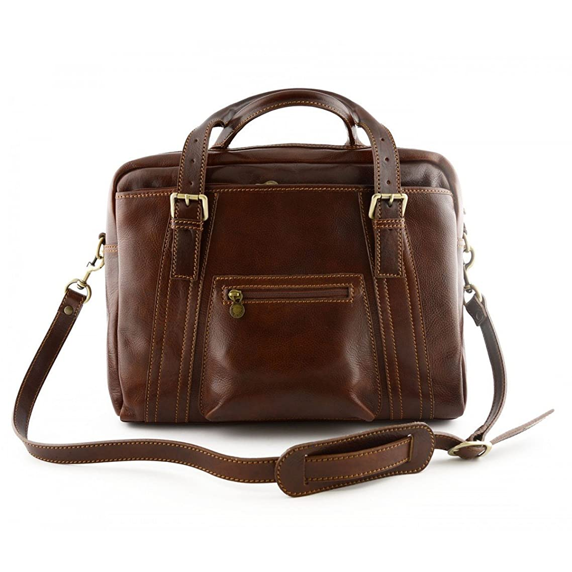 結婚した原子炉セクタMade In Italy Leather Laptop Bag Color Brown - Business Bag