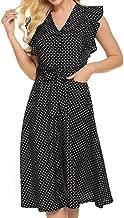OMSJ Womens Cute Dresses Polka Dot Swing Midi Dress with Pockets