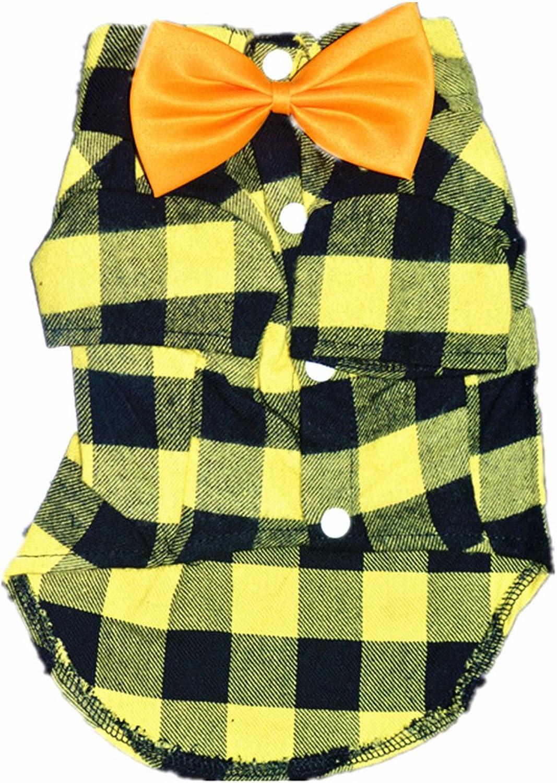 HOODDEAL Soft Casual Dog Yellow and Black Plaid Shirt Gentle Dog Western Shirt Dog Clothes Dog Cotton Shirt + Dog Wedding Tie (Large)