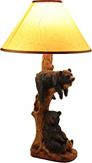 Ebros Wildlife Rustic Cabin Lodge Decor Whimsical Lazy Days of Summer 2 Black Bears Napping On Tree Branch and Snacking Honey Table Lamp Statue with Shade 22