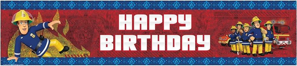 amscan International 9902181 2.7 m x 20 cm Fireman Sam Happy Birthday Holographic Banner