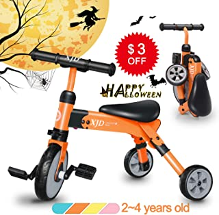 XJD 2 in 1 Kids Tricycles for 2 Years Old and Up Boys Girls Tricycle Kids Trike Toddler Tricycles for 2-4 Years Old Kids Toddler Bike Trike 3 Wheels Folding Tricycle Kids Walking Tricycle Walk Trike
