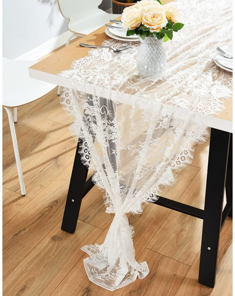 OurWarm 28 x 120 Inches Vintage Lace Wedding Runner Max Manufacturer regenerated product 59% OFF White Table