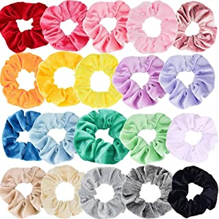Paquete de 20 bandas elásticas para el pelo de terciopelo pastel, bandas para el pelo Vsco de satén, para coleta o coleta