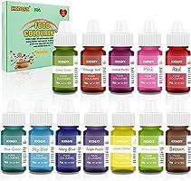 Coloranti Alimentari a 12 colori - Colorante Alimentare Liquido Concentrati per Cuocere, Decorare, Glassare e Cucinare -...
