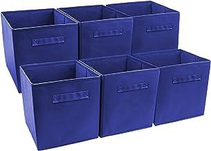 Sorbus Foldable Storage Cube Basket Bin (6 Pack, Royal Blue)