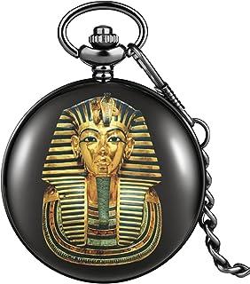 Pharaon égyptien Motif Fin Hommes Noir Lisse Montre de Poche Cadran à Quartz Durable chaîne épaisse Pendentif Le Meilleur ...