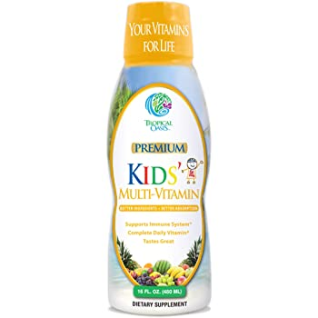 Premium Kids Liquid Multivitamin & Superfood -100% DV of 14 Vitamins for Kids. Multi-Vitamin for Children Ages 4+. Great Tasting, Non-GMO, No Sugar - Max Absorption - 16 oz, 32 Serv