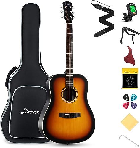 Donner Acoustic Guitar for Beginner Adult Full Size Dreadnought Acustica Guitarra Starter Bundle Kit with Gig Bag Str...