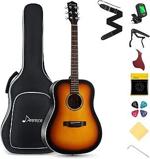 "Best Donner Beginner Acoustic Guitar Full Size, 41"" Guitar Bundle with Gig Bag Tuner Capo Picks Strap String (Sunburst Dreadnought) Review"