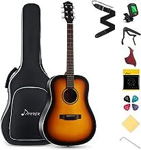 "Donner Beginner Acoustic Guitar Full Size, 41"" Guitar Bundle with Gig Bag Tuner Capo Picks Strap String (Sunburst Dreadnou..."