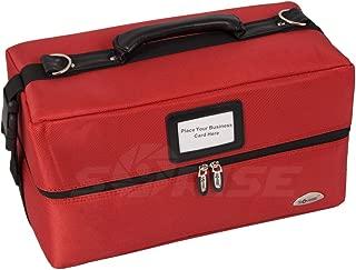 (2.3kg, Red Canvas) - Sunrise Lustraferi Soft Sided Makeup Case Professional Nail Travel Organiser Box, Red Canvas, 2.3kg