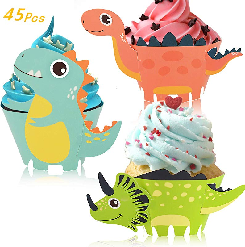 Little Siena Dinosaur Cupcake Wrappers Toppers Set 45 PCS Little Dino Cupcake Toppers Cake Table Decorations Party Supplies For Boys Kids Birthday Party Decor Favors Jurassic
