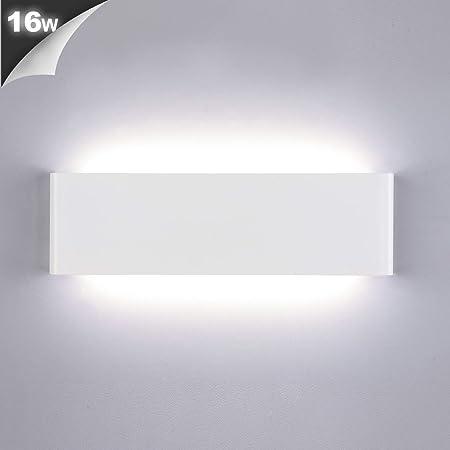 Lightess Applique Murale Interieur LED 16W Lampe Murale Blanc Froid IP44 pour Chambre Salon Escalier Couloir Salle de Bain Hôtel Blanc