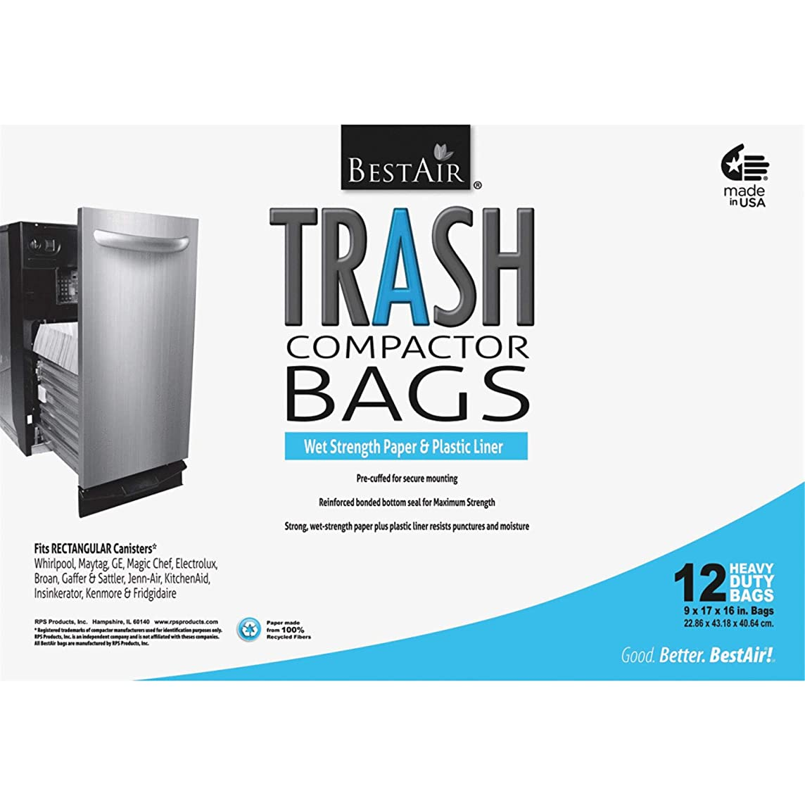 RPS PRODUCTS BestAir Trash Compactor Bags(16'' D. x 9'' W. x 17'' H,Pack of 12) (3 Case(12 Pack))