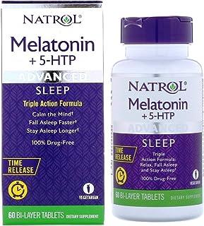 Melatonin 6 mg + 5-HTP 50 mg, Advanced Sleep, Calm, Fall Asleep Faster & Longer, 60 Bi-Layer Tablets