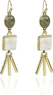 Danielle Nicole gold tone earring with Labradorite and Spot Kambaba stone.