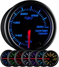 GlowShift Black 7 Color 300 F Water Coolant Temperature Gauge Kit - Includes Electronic Sensor - Black Dial - Clear Lens - for Car & Truck - 2-1/16