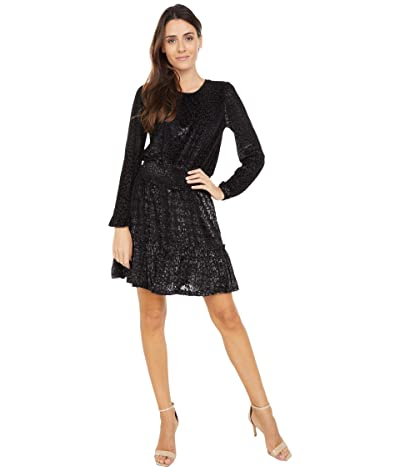 MICHAEL Michael Kors Wildcat Smock Long Sleeve Dress (Black/Gunmetal) Women