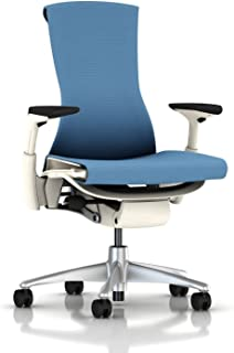 Herman Miller Embody Ergonomic Office Chair with White Frame/Titanium Base | Fully Adjustable Arms and Carpet Casters | Blue Moon Balance