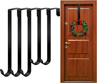 Aneco 6 Pack Over The Door Wreath Hanger Christmas Wreath Hook Metal Handy Wreath Hanger Hanging Hook (Black, 12 inches, 15 inches)