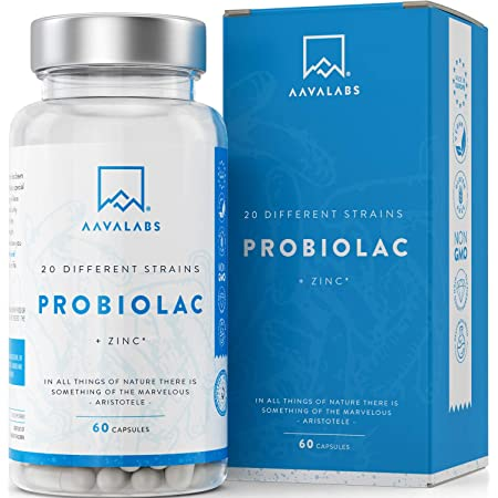 Probiótico [ 50 mil millones de UFC ] 20x Cepas bacterianas (Incl. Acidophilus & Bifidobacterium) + Inulina por dosis - Zinc agregado para apoyo inmunológico - 60 Cápsulas