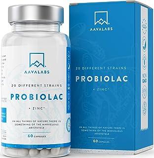 Probiótico [ 50 mil millones de UFC ] 20x Cepas bacterianas (Incl. Acidophilus & Bifidobacterium) + Inulina por dosis - Zi...