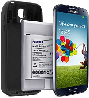 Perfine 7500mAh Battery S4 Compatible with Galaxy S4 i9500 GT-I9505 GT-I9506 B600BC Extended Battery with Full Edge TPU Case