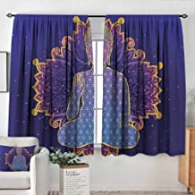 Blackout Curtains for Bedroom Psychedelic,Asana Asian Philosophy Yoga Pose Peaceful Ritual Body Energy Karma Image, Purple Lavender,Darkening and Thermal Insulating Draperies 52